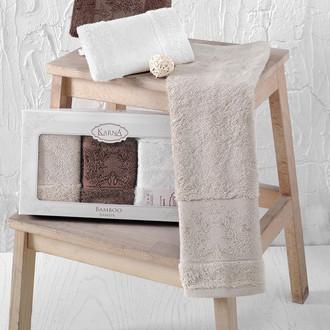 Набор полотенец кухонных в подарочной упаковке 30*50(3) Karna PANDORA махра бамбук (V6)