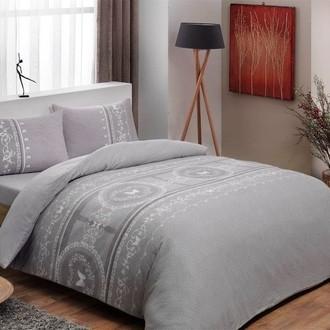 Комплект постельного белья TAC HAPPY DAYS SONYA хлопковая фланель (серый)