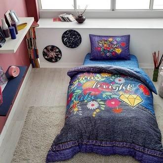 Комплект подросткового постельного белья TAC SHINE хлопковый ранфорс (синий)