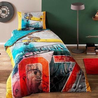 Комплект подросткового постельного белья TAC PLANE хлопковый ранфорс (зелёный)