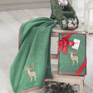 Полотенце для ванной в подарочной упаковке Karna NOEL-2 хлопковая махра V6 50х90