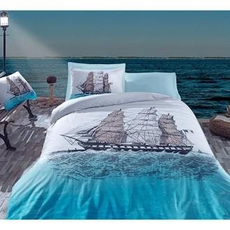 Комплект постельного белья Cotton Box MARITIME SHIP хлопковый ранфорс (голубой)