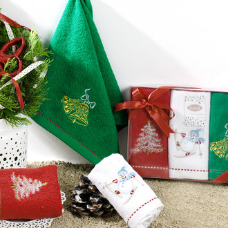 Набор полотенец в подарочной упаковке 30*50(3) Karna NOEL хлопковая махра (V2)