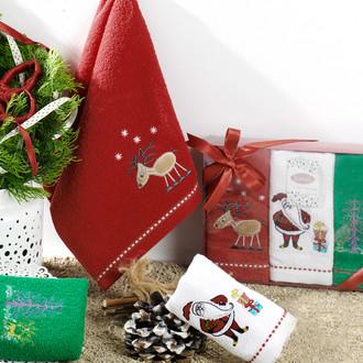 Набор полотенец в подарочной упаковке 30*50(3) Karna NOEL хлопковая махра (V1)