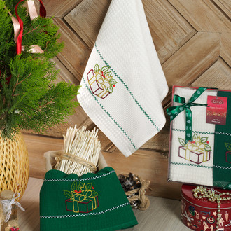 Подарочный набор полотенец для кухни 40*60(2) Karna HAPPY хлопковая вафля (V1)