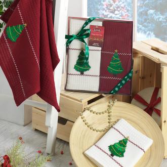 Подарочный набор полотенец для кухни 40*60 2 шт. Karna HAPPY хлопковая вафля V4
