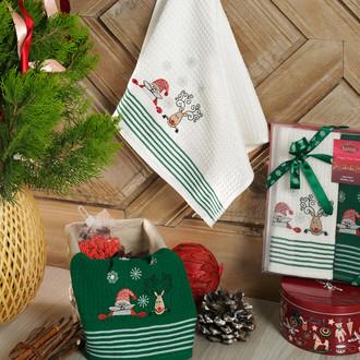 Подарочный набор полотенец для кухни 40*60(2) Karna HAPPY хлопковая вафля (V3)