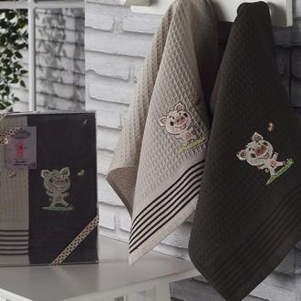 Подарочный набор полотенец для кухни 40*60(2) Karna SEVIMLI хлопковая вафля (V1)