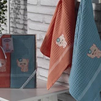 Подарочный набор полотенец для кухни 40*60(2) Karna SEVIMLI хлопковая вафля (V2)