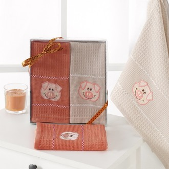 Подарочный набор полотенец для кухни 40*60(2) Karna SEVIMLI хлопковая вафля (V3)