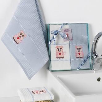 Подарочный набор полотенец для кухни 40*60(2) Karna SEVIMLI хлопковая вафля (V4)