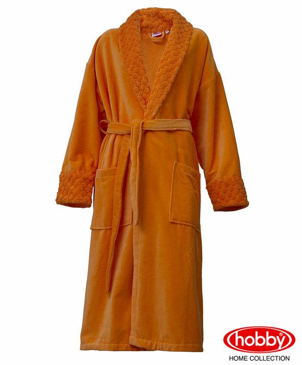 Халат женский Hobby Home Collection ANGORA хлопковая махра оранжевый M, фото, фотография