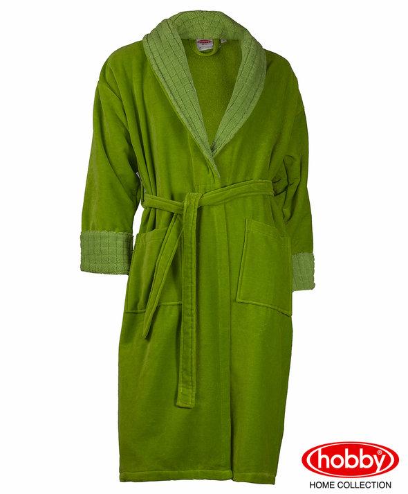 Халат мужской Hobby Home Collection ANGORA хлопковая махра зелёный XL, фото, фотография