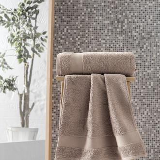 Полотенце для ванной Karna MELTEM хлопковая махра (кофейный)