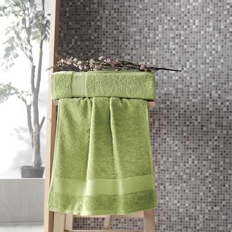 Полотенце для ванной Karna MELTEM хлопковая махра (зелёный)