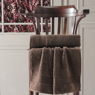Полотенце для ванной Karna DESTAN хлопковая махра коричневый