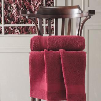 Полотенце для ванной Karna DESTAN хлопковая махра (бордовый)