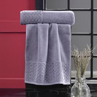 Полотенце для ванной Karna PONPON хлопковая махра сиреневый