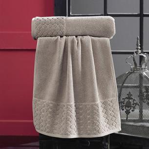 Полотенце для ванной Karna PONPON хлопковая махра коричневый 50х90