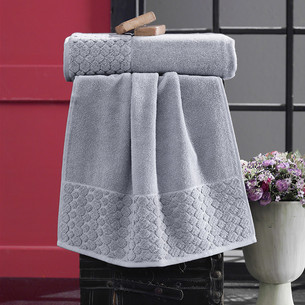 Полотенце для ванной Karna PONPON хлопковая махра серый 50х90