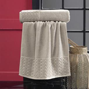 Полотенце для ванной Karna PONPON хлопковая махра бежевый 50х90