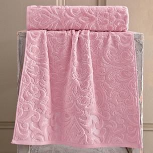 Полотенце для ванной Karna HAZAL хлопковая махра брусничный 50х90