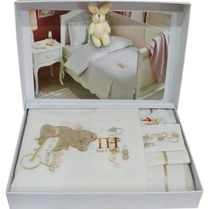 Детское постельное белье для новорожденных с пледом Tivolyo Home POURTOL BEBE хлопковый сатин коричневый