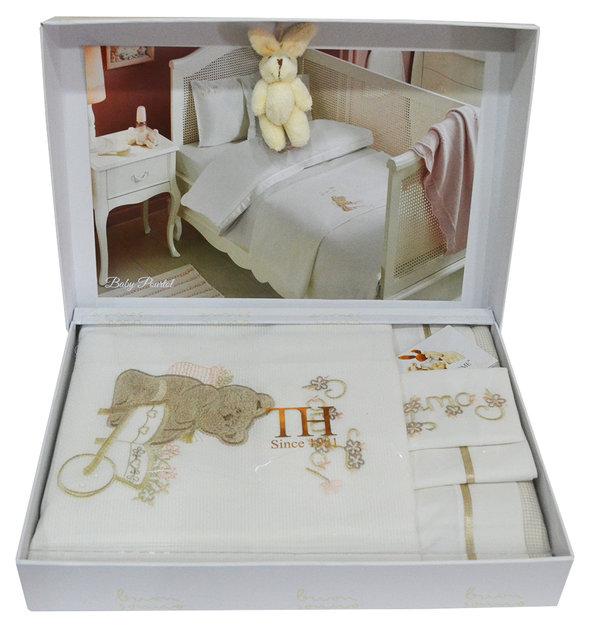 Комплект детского постельного белья для новорожденных с пледом Tivolyo Home POURTOL BEBE хлопковый сатин (коричневый), фото, фотография