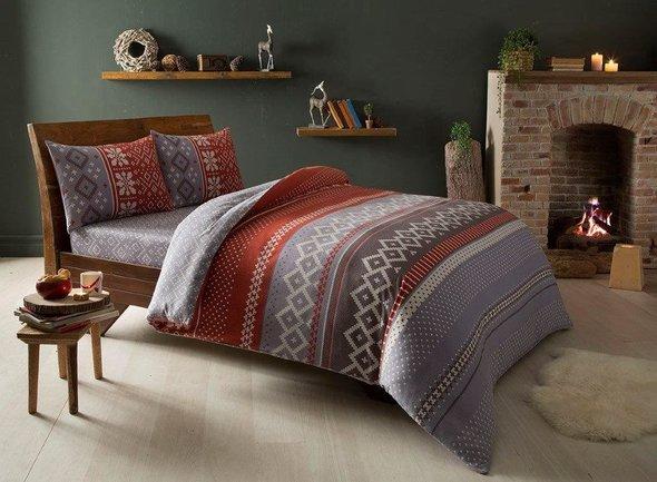 Комплект постельного белья TAC HAPPY DAYS SWEETY хлопковая фланель (красный) евро, фото, фотография