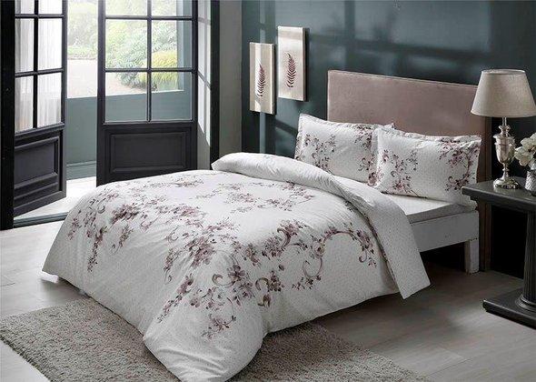 Комплект постельного белья TAC HAPPY DAYS LIARA хлопковый сатин (серый) евро, фото, фотография
