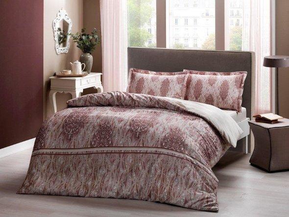 Комплект постельного белья TAC HAPPY DAYS ELISE хлопковый сатин (коричневый) евро, фото, фотография