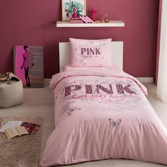 Комплект подросткового постельного белья TAC PINK хлопковый ранфорс (розовый)