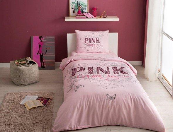 Комплект подросткового постельного белья TAC PINK хлопковый ранфорс (розовый) 1,5 спальный, фото, фотография