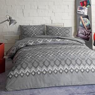 Комплект подросткового постельного белья TAC JUNO хлопковый ранфорс серый 1,5 спальный