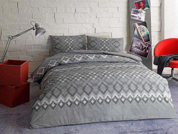 Комплект подросткового постельного белья TAC JUNO хлопковый ранфорс (серый) 1,5 спальный, фото, фотография