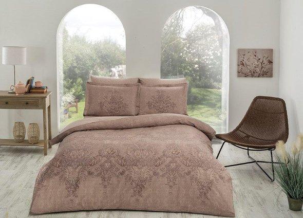 Комплект постельного белья TAC DELUX ROMANIE хлопковый сатин deluxe (коричневый) евро, фото, фотография
