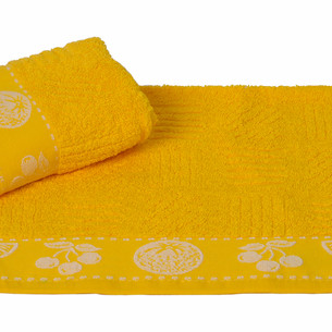 Полотенце кухонное Hobby Home Collection MEYVE BAHCESI хлопковая махра жёлтый 30х30