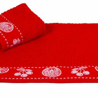 Полотенце кухонное Hobby Home Collection MEYVE BAHCESI хлопковая махра красный