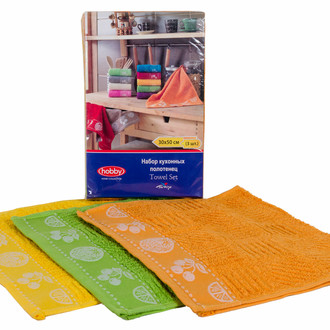 Набор полотенец кухонных 30х50 3 шт. Hobby Home Collection MEYVE BAHCESI хлопковая махра жёлтый+зелёный+оранжевый