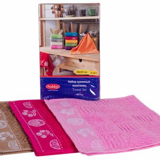 Набор полотенец кухонных 30х50 3 шт. Hobby Home Collection MEYVE BAHCESI хлопковая махра фуксия+розовый+коричневый