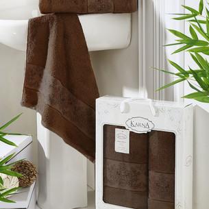 Набор полотенец банных в подарочной упаковке 50х90, 70х140 Karna PANDORA махра бамбук тёмно-коричневый