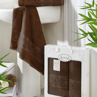 Набор полотенец банных в подарочной упаковке 50*90, 70*140 Karna PANDORA махра бамбук (тёмно-коричневый)