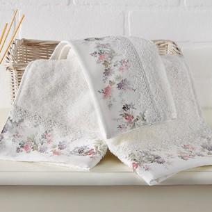 Набор полотенец-салфеток в подарочной упаковке 30х50 3 шт. Tivolyo Home VERSAILLES хлопковая махра кремовый