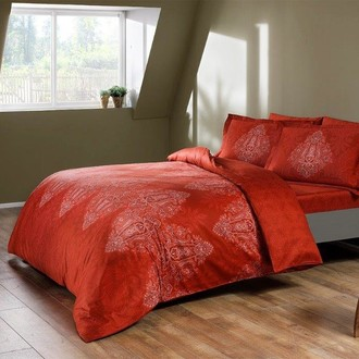 Постельное белье TAC PREMIUM DIGITAL CALEDON хлопковый сатин deluxe (красный) семейный