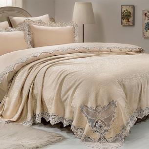 Постельное белье с покрывалом Gelin Home SADABAD хлопковый сатин делюкс лиловый евро