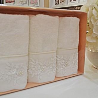 Набор полотенец для ванной в подарочной упаковке 32*50(3) Soft Cotton MASAL бамбуково-хлопковая махра (кремовый)
