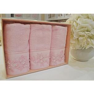 Набор полотенец для ванной в подарочной упаковке 30х50 3 шт. Soft Cotton MASAL бамбуково-хлопковая махра персиковый