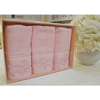 Набор полотенец для ванной в подарочной упаковке 32*50(3) Soft Cotton MASAL бамбуково-хлопковая махра (розовый)