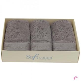 Набор полотенец для ванной в подарочной упаковке 32*50(3) Soft Cotton LEAF хлопковый микрокоттон (коричневый)