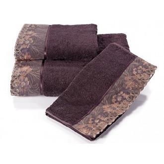 Набор полотенец для ванной в подарочной упаковке 32*50(3) Soft Cotton LALEZAR хлопковая махра (фиолетовый)